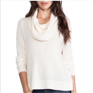 Joie cream off-white wool cashmere cowl sweater S